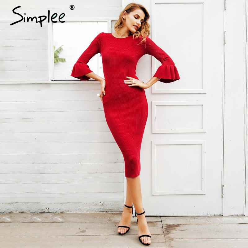 Autumn Winter Dresses Simplee Butterfly Sleeve Knitting Sweater Dress Women