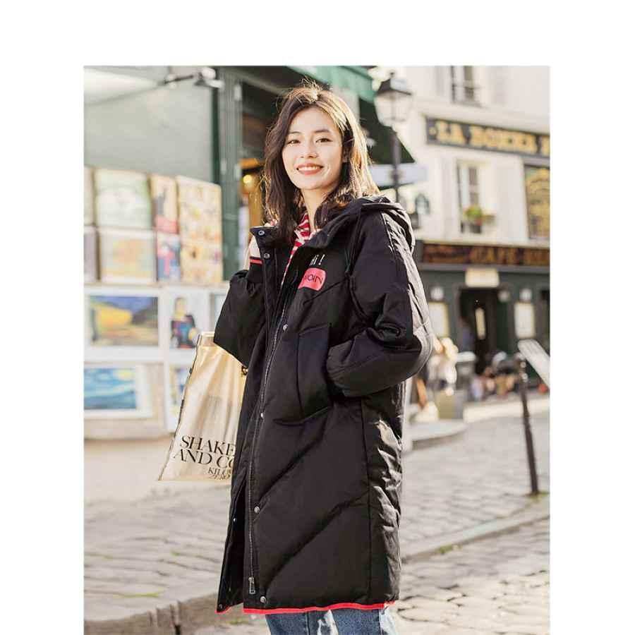 Inman Hooded Printing Leisure Ladies Female Girl Winter Long Duck