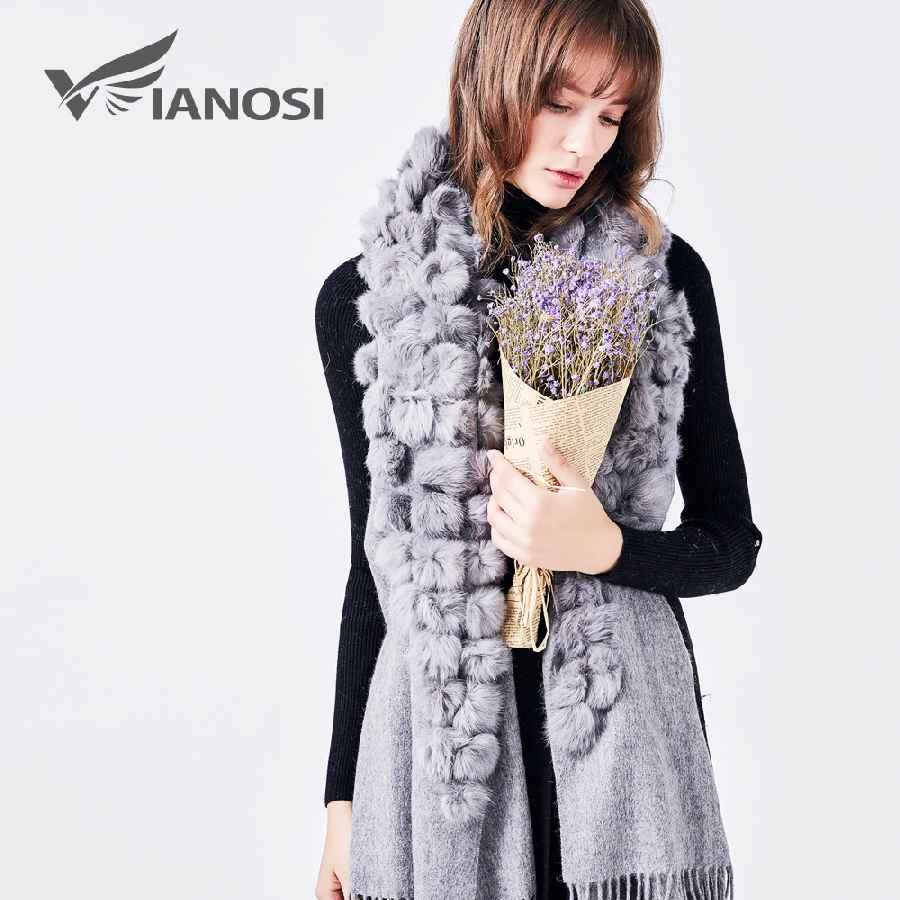 Women Winter Real Fur Scarf Collarfur Shawl Fashion 100% Wool