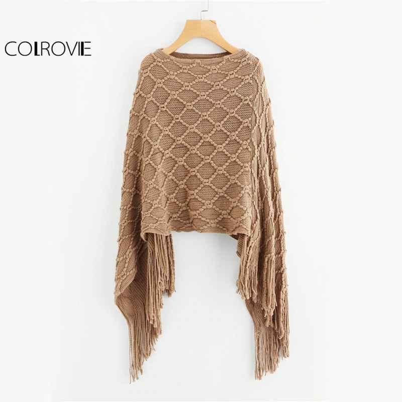 Colrovie Fringe Oversized Khaki Sweater Vintage Boho Poncho Fall Fashion