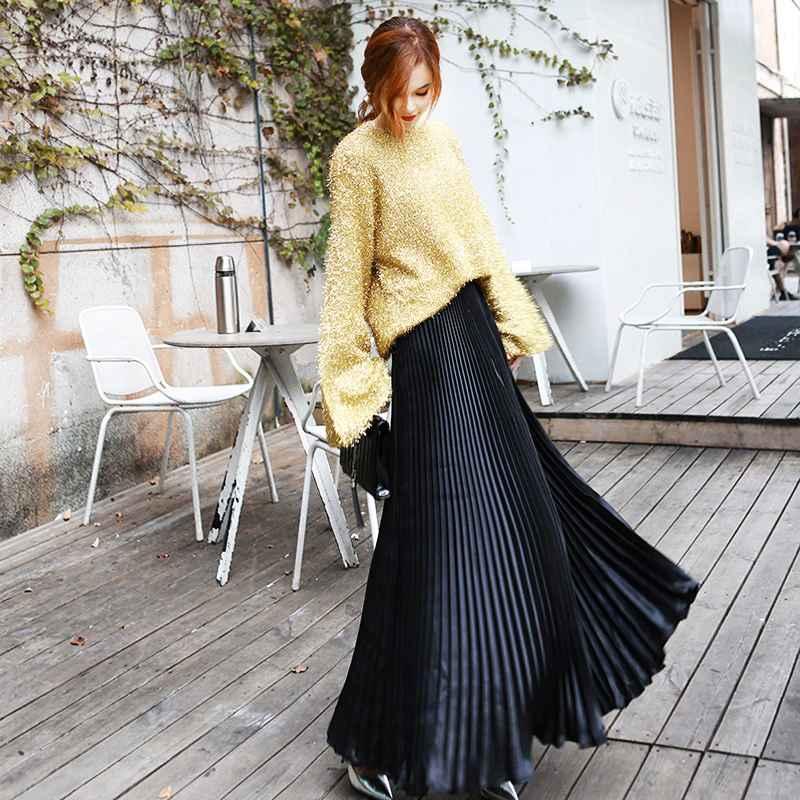 Skirts 2019 summer fashion vintage silver golden metal solid flared