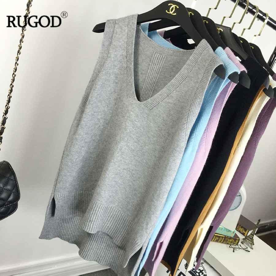 Rugod Knit Vest Sleeveless Top Women Loose V-Neck Candy Color