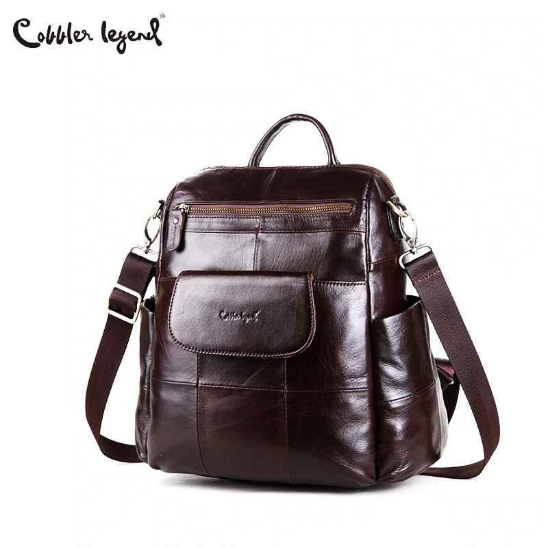Women Backpack Retro Genuine Leather Backpack Laptop Ladies Shoulder Bag