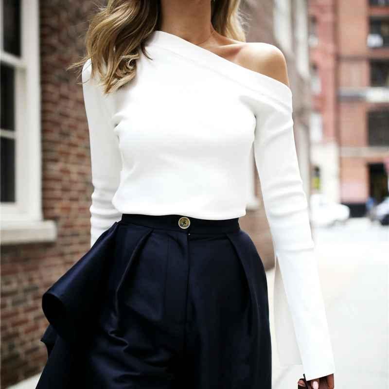 White Female T-Shirt Off Shoulder Slash Neck Top Split Long