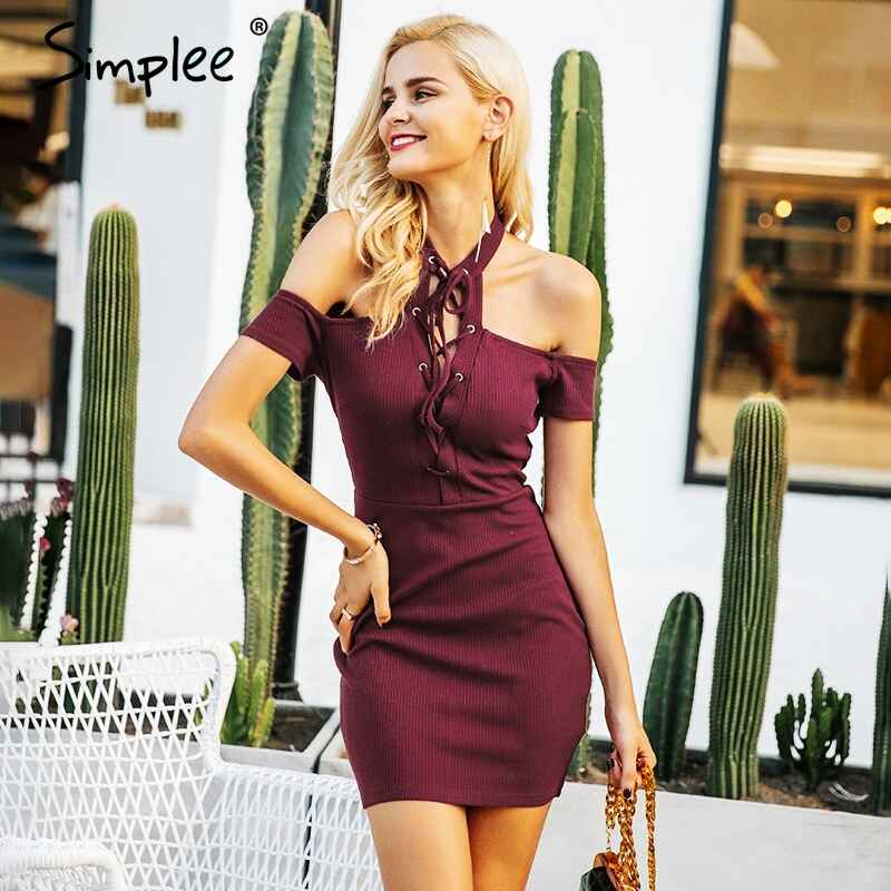 Autumn Winter Dresses Simplee Halter Lace Up Bodycon Dress Women