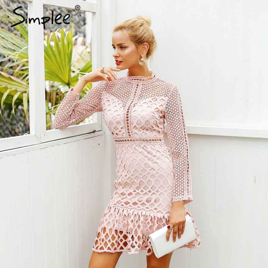Elegant Hollow Out Ruffle Lace Dress Women Vintage Long Sleeve