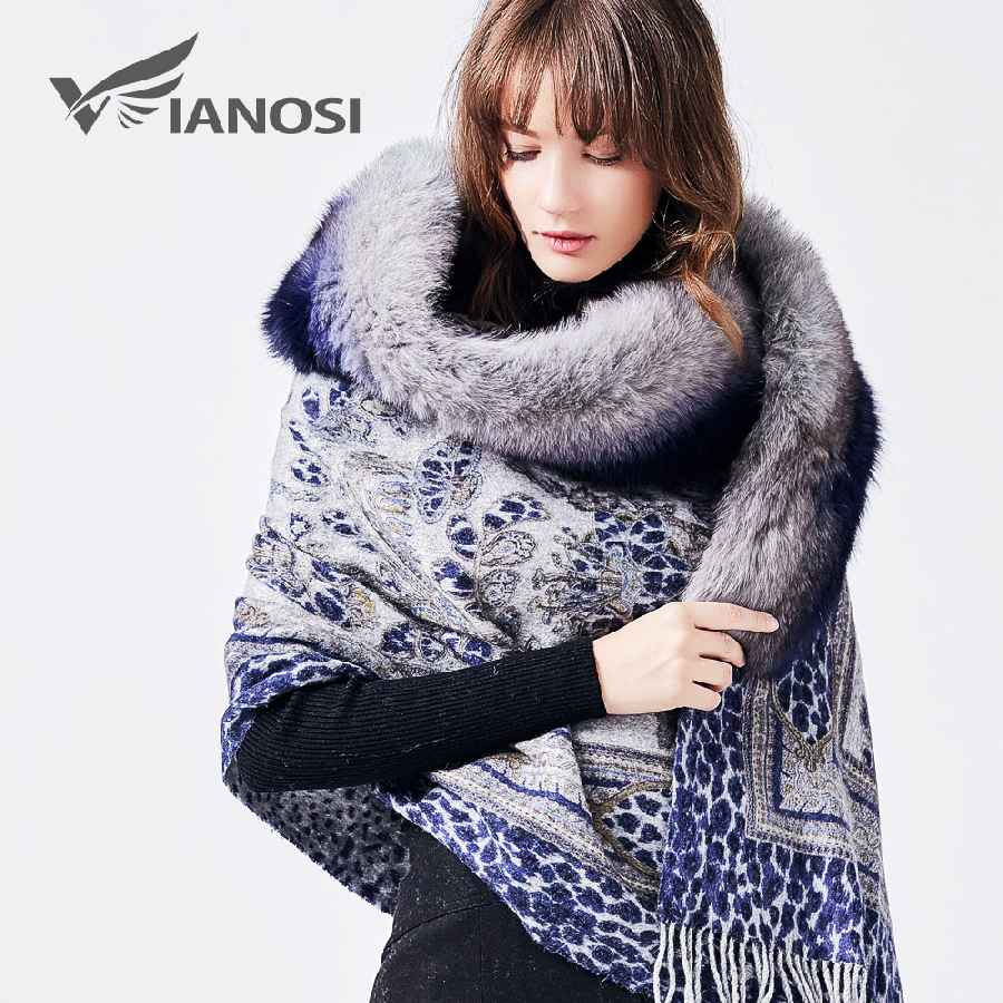 Top Luxury Real Fox Fur Scarf Fur Collar Shawl Print
