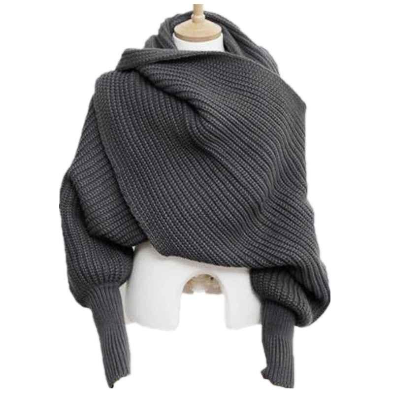 Korean Knitted Lics Scarf Collar Unisex Winter Warm Long Sleeve