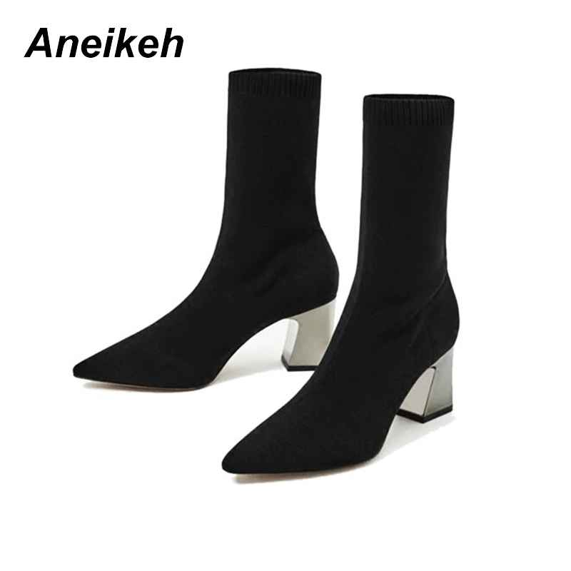 Aneikeh Fashion Ankle Elastic Sock Boots Chunky High Heels Stretch