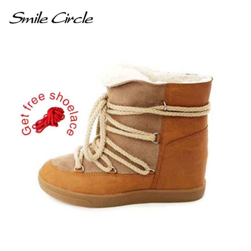 Smile Circle 2019 Winter Shoes For Women Lace-Up Wedge Boots