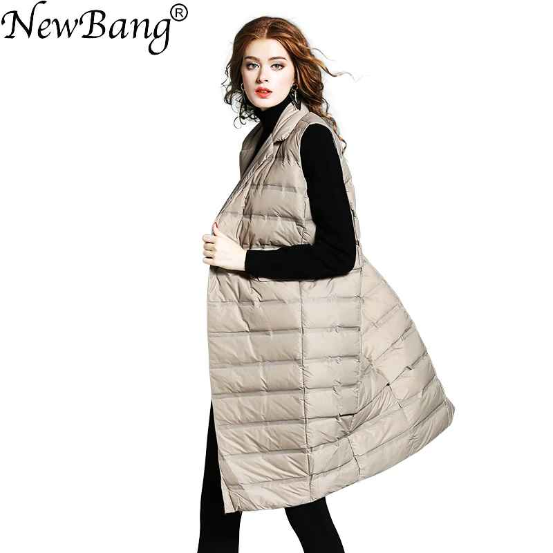 Newbang Brand Womens Long Vest Ultra Light Down Vests Female