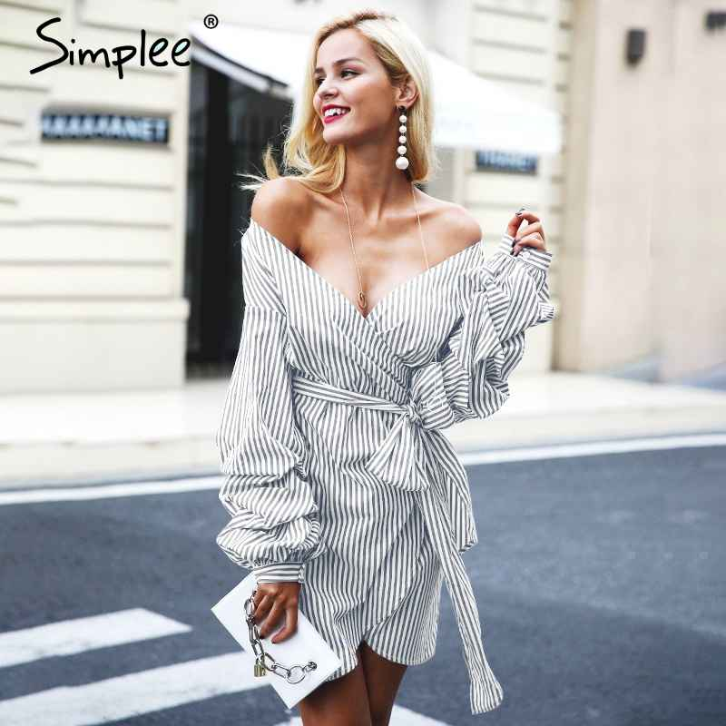 Autumn Winter Dresses Simplee Off Shoulder Lantern Sleeve Wrap Women