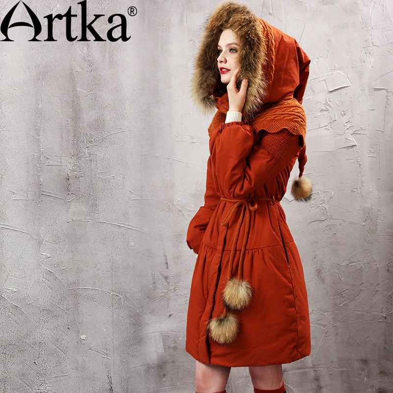 Artka Women s Winter Parkas Raccoon Fur Hooded Winter Jacket For