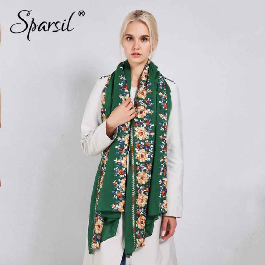 Sparsil Women Cotton Linen Blend Scarves Flowers Embroidery Shawls Basic