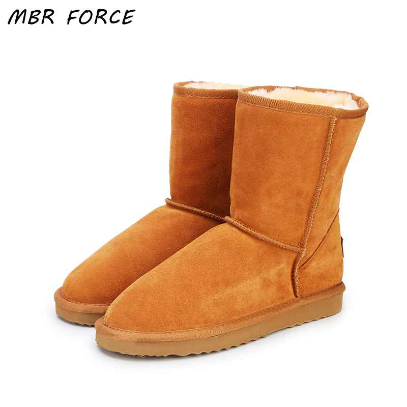 Mbr Force Classic Genuine Cowhide Leather Snow Boots 100% Wool