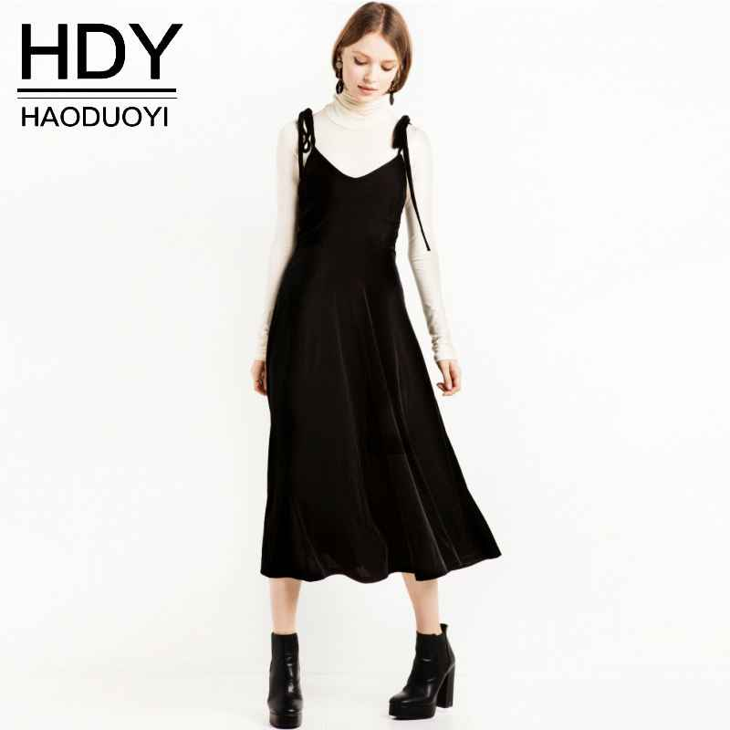 Hdy Autumn Velvet Dress Black Women Clothing Slip Elegant Dress