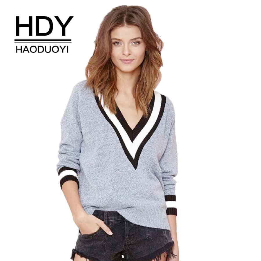 Autumn Fashion Loose Stripe V Neck Long Sleeve Casual Knitted