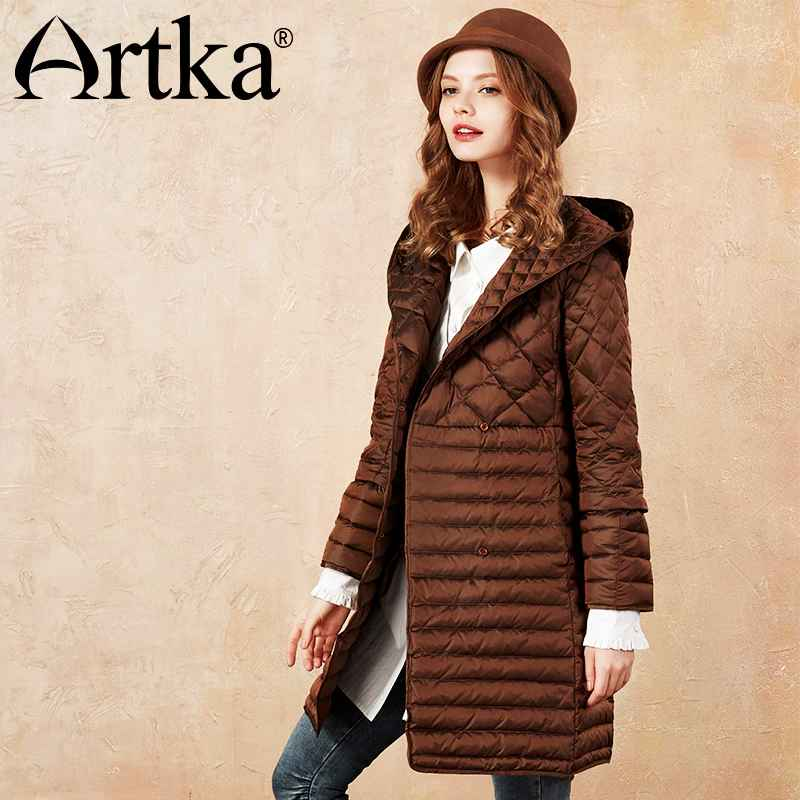 Artka 2018 Autumn&Winter Three-Way Wearing White Duck Women Down Coat