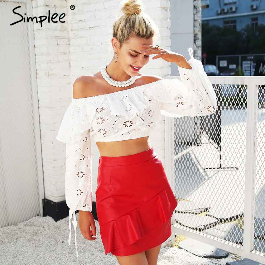 Blouses Shirts Simplee Off Shoulder Ruffles Hollow Out Blouse Women