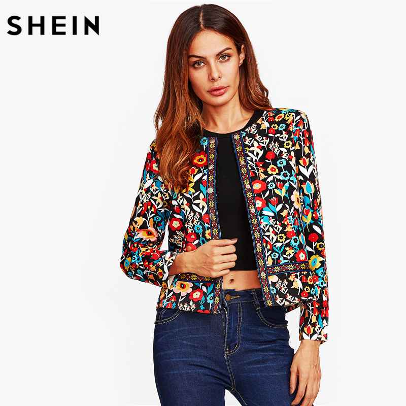 Press Button Placket Botanical Jacket Autumn Jacket For Women Multicolor