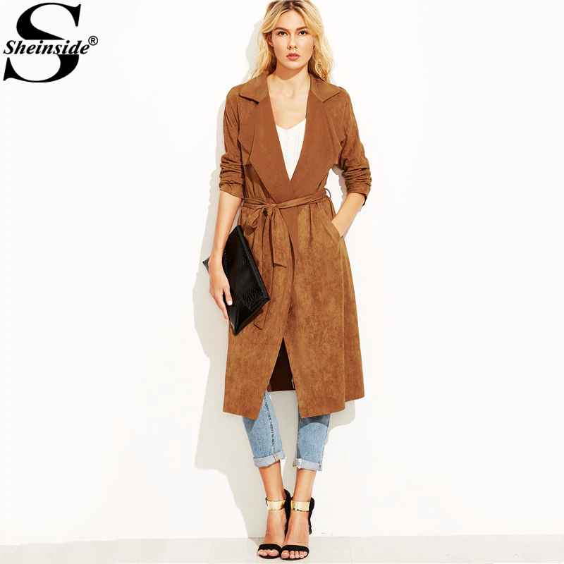 Brown Suede Self Tie Duster Trench Coat Long Sleeve Wrap