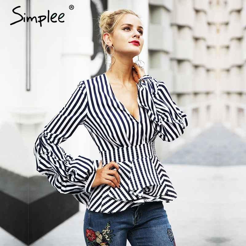 Blouses Shirts Simplee Ruffle V Neck Stripe Blouse Shirt Women