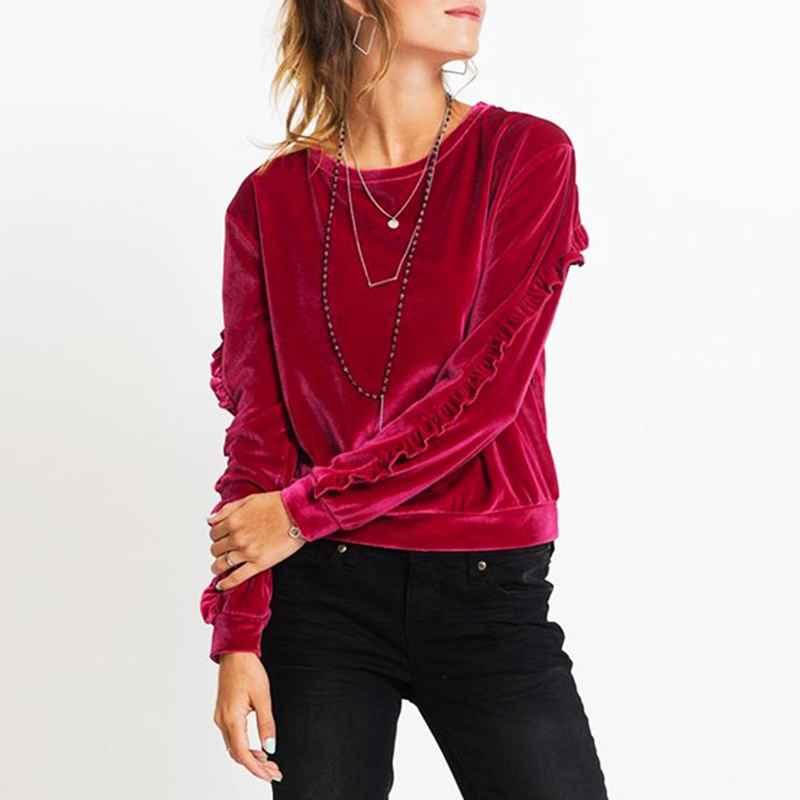 Autumn Fashion Hoody Women Velvet Sweatshirt Casual Long Ruffles Sleeve