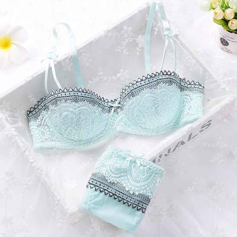 Women Girls Summer Sweet Lace Embroidery Half Cup Bowknot Sexy