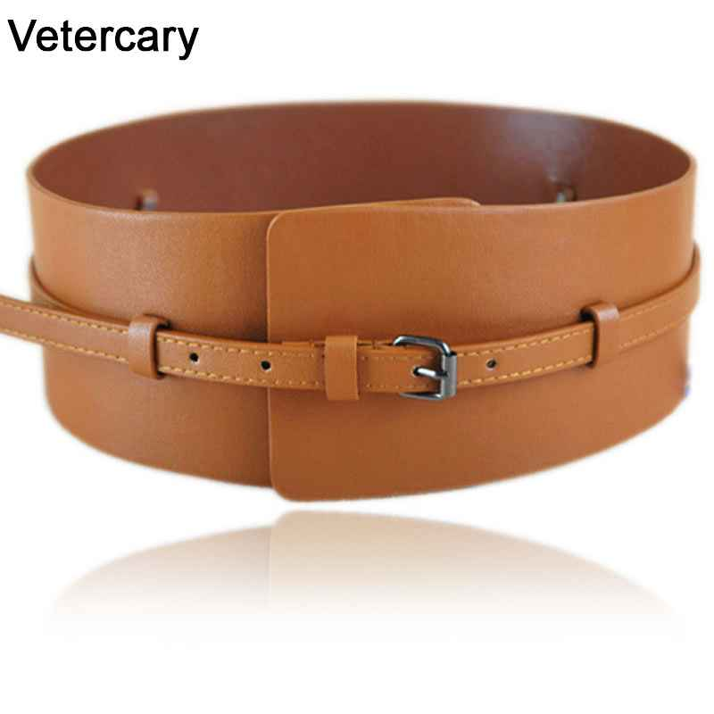 New Fashion Women Belts Ladies Wide Belt Brown Faux Leather