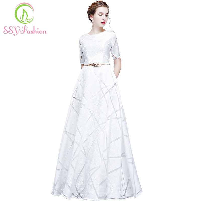 New Simple White Evening Dress The Bride Banquet Elegant Short