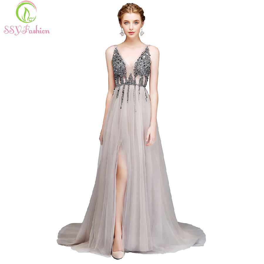 New Luxury Evening Dress V-Neck Backless Beading High-Split Tulle Long