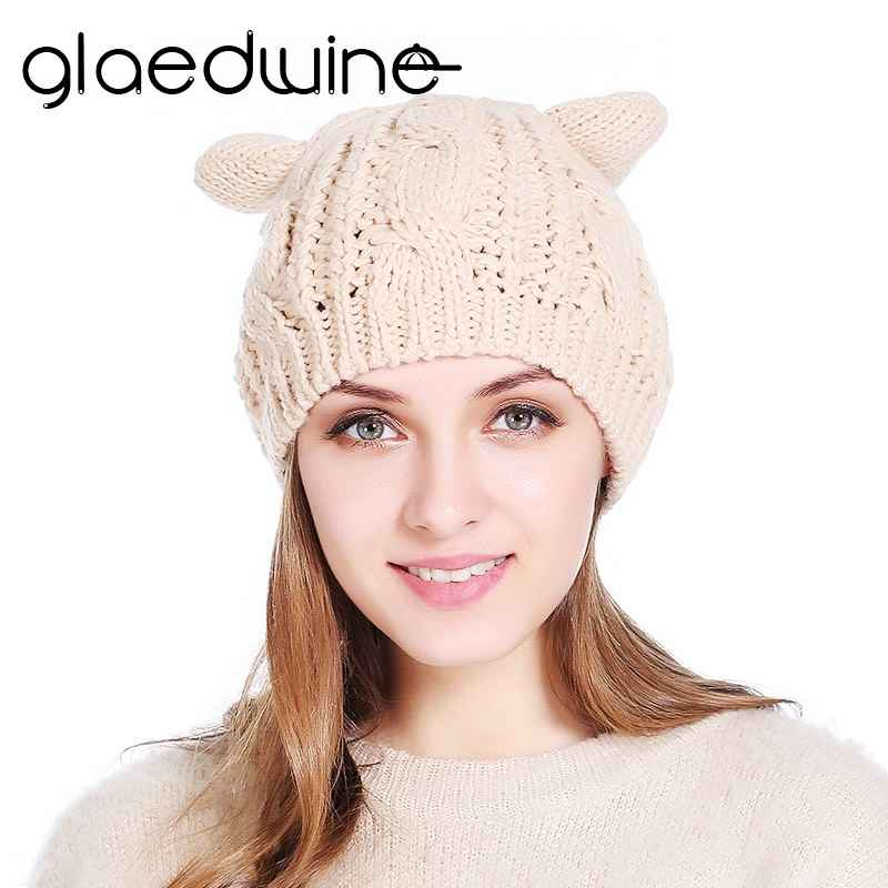 Glaedwine Autumn Winter Wool Womens Hat Knitted Hat Cat Ears