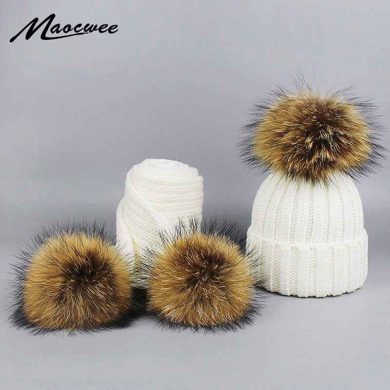 Children Knitted Scarf Hat Set With Pompons Luxury Winter Warm