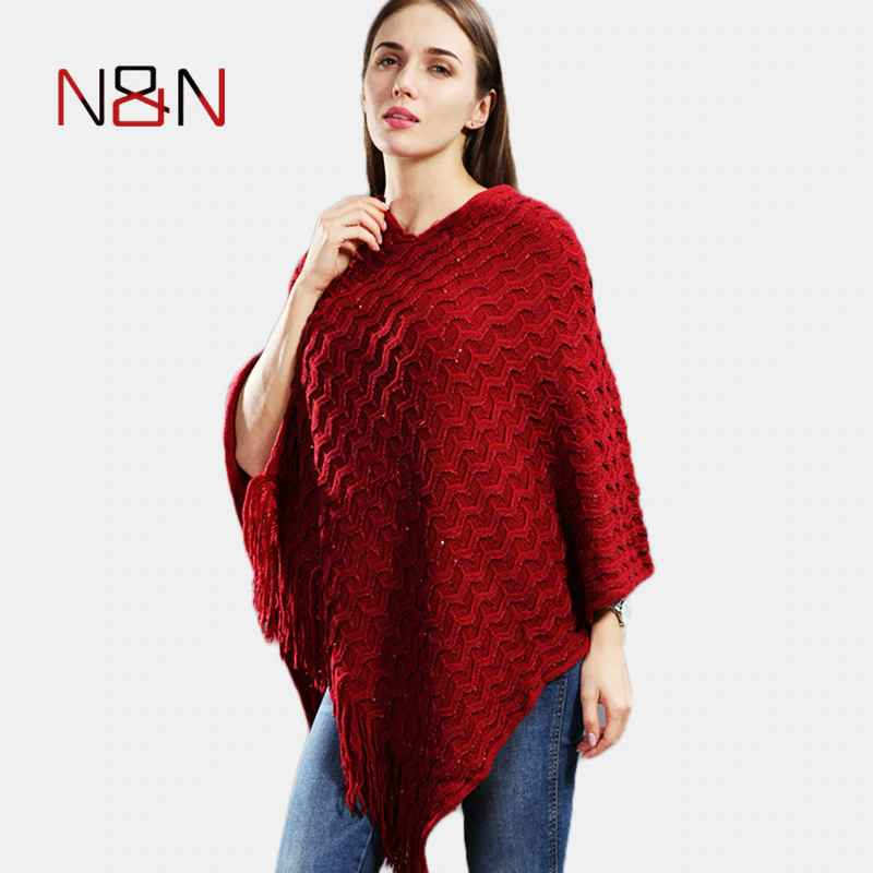 Knitted Pullover Women Poncho Plus Size Batwing Solid Striped Sequins