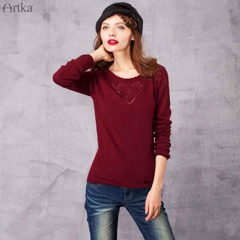Artka 2018 Aurumn&Winter Vintage All-Match Hollow Out Elegant Casual Knitwear
