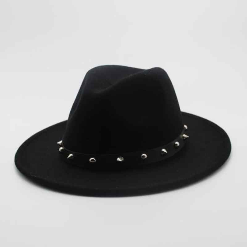 Women Men Wool Fedora Hat With Punk Rivet Ribbon Elegant