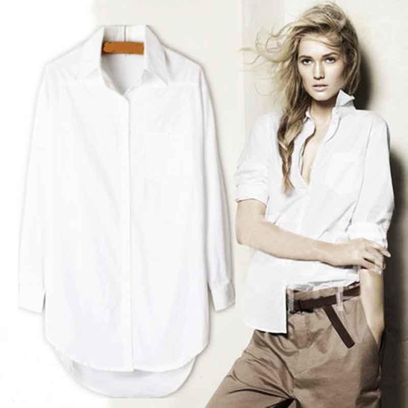 Blouses elegant long blouse white shirt women ladies office 100%