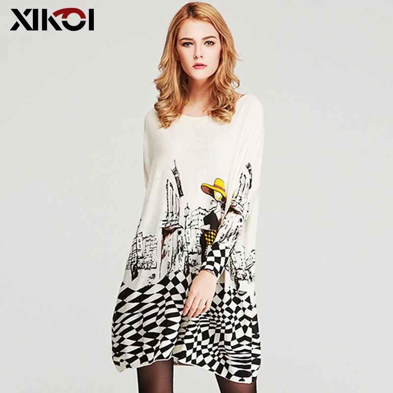 Xikoi Free Size Autumn Women Long Sweaters Slash Neck Batwing
