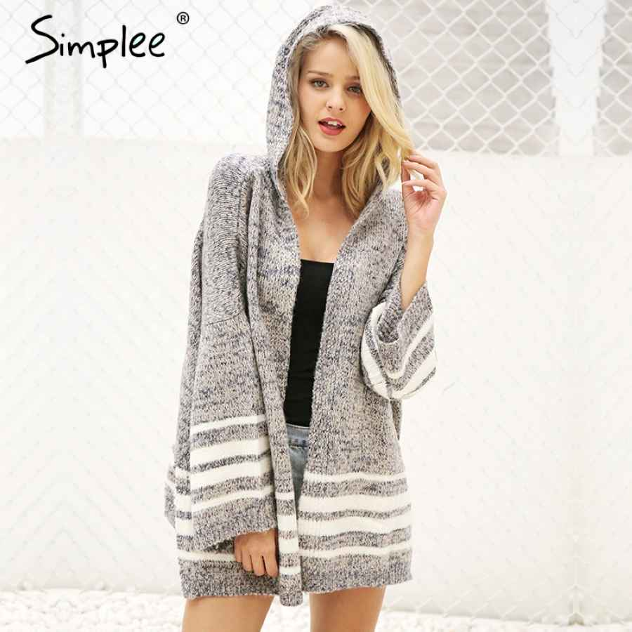 Hooded Winter Knitted Sweater Cardigan Female Flare Sleeve Loose Striped