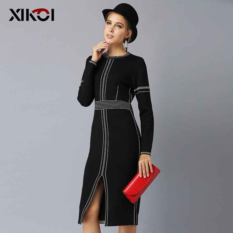 Xikoi Casual Women Knitting Dress Black Midi O-Neck Fashion Hem