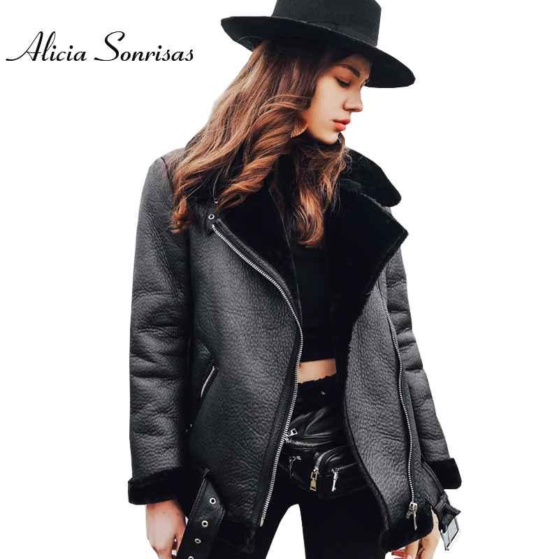 Women Fur Coat Winter Leather Jacket Women Black Lamb Fur