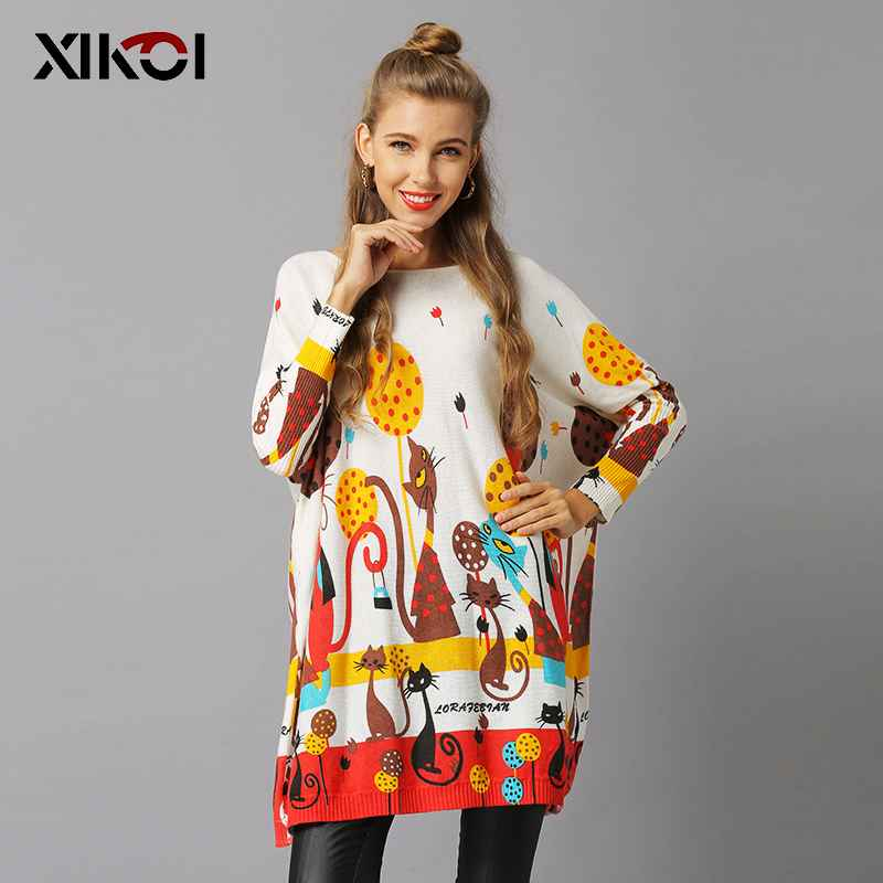 Xikoi Winter Cats Sweater For Women Oversized Pullovers Knitted Long
