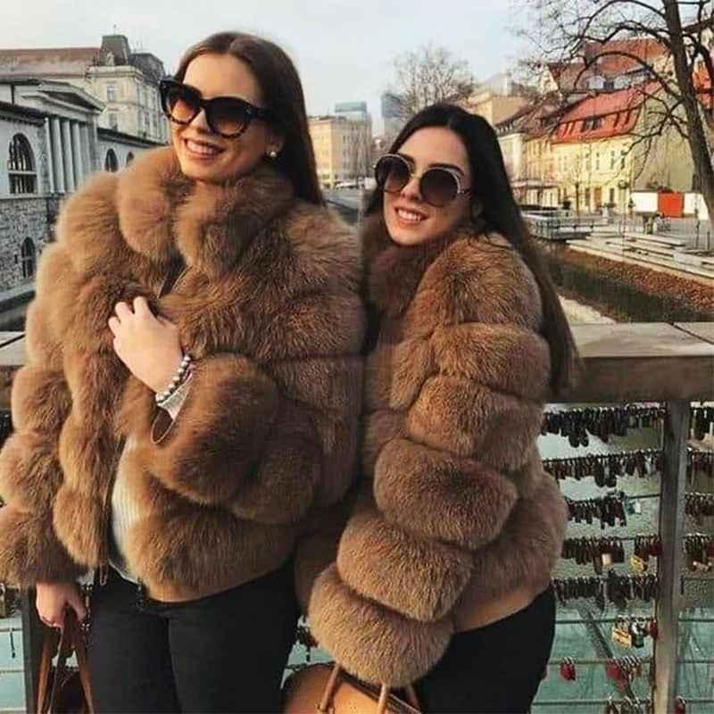 Coats fursarcar female natrual real fox fur coat with fur