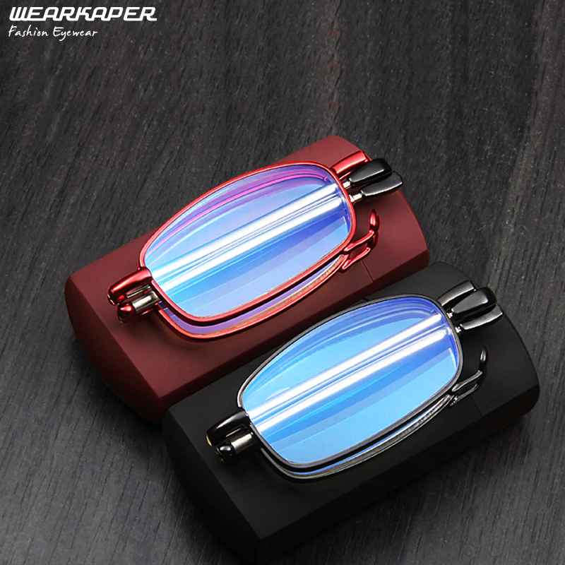 Wearkaper Coating Anti-Fatigue Anti-Blu-Ray Reading Glasses Men Women Folding Foldable