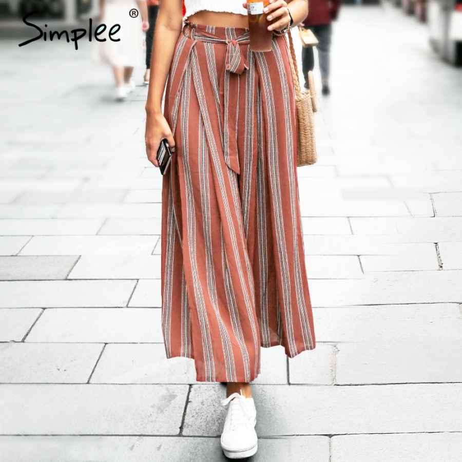 Split Striped Lady Wide Leg Pants Women Summer Beach High