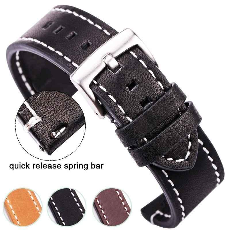 Hengrc Cowhide Genuine Leather Watchband Belt 18 20 22 24mm