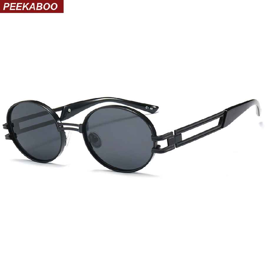Peekaboo Small Oval Sunglasses For Men 2018 Yellow Pink Brown