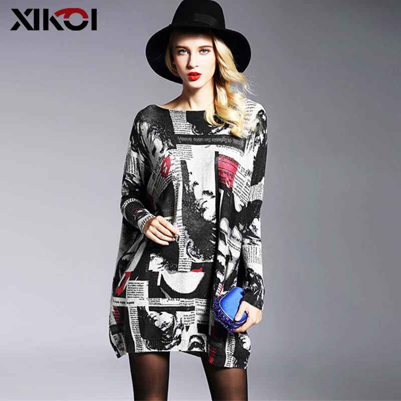 Xikoi Fashion Oversized Knitted Sweaters Women s Clothing Pullovers Jumpers Slash