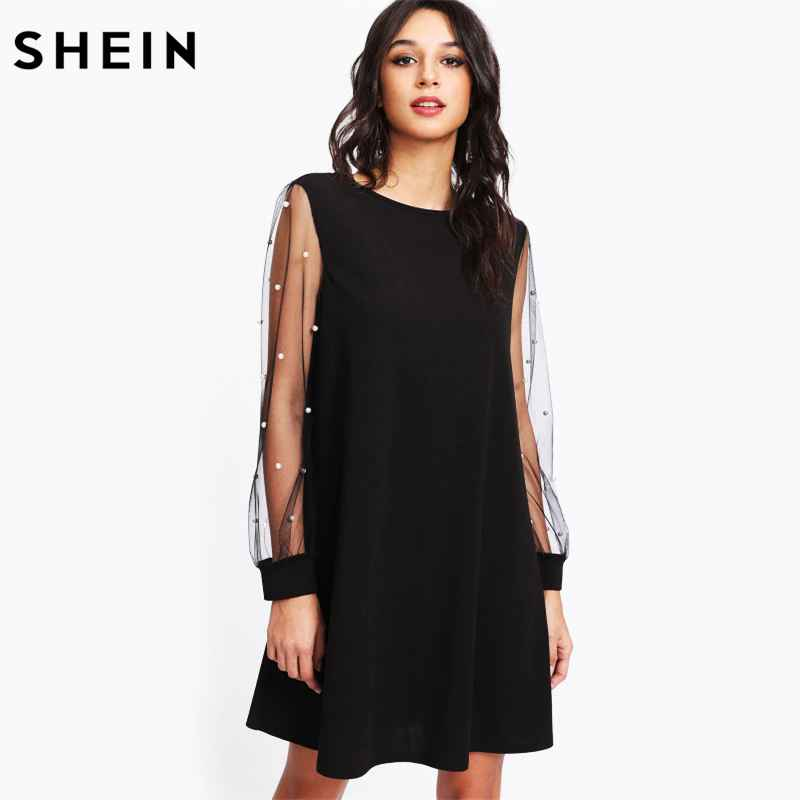 Elegant Womens Dresses Pearl Beading Mesh Sleeve Tunic Dress Autumn
