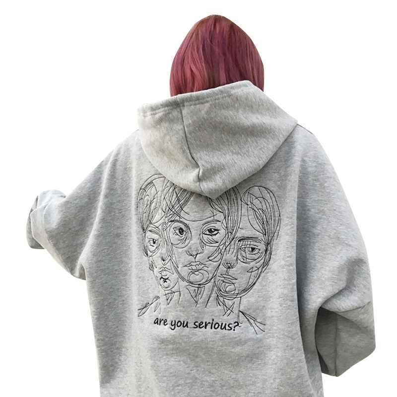 Lychee Harajuku Punk Autumn Winter Women Hooded Sweatshirt Head Embroidery